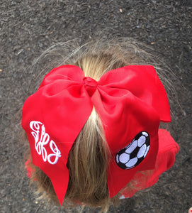 Soccer Bow with Monogram - Red - Ciao Bella Boutique