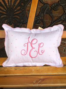 Small Scallop Edge Accent Pillow - Pink, Blue, or White Swiss Dots - Ciao Bella Boutique