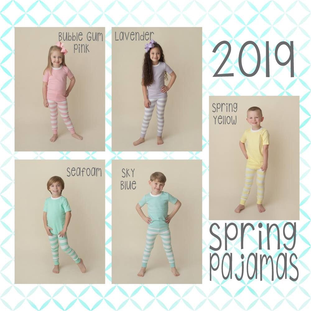 Spring Solid Stripe Pajamas - 5 Colors  ***Sizes 6m-6*** - Ciao Bella Boutique