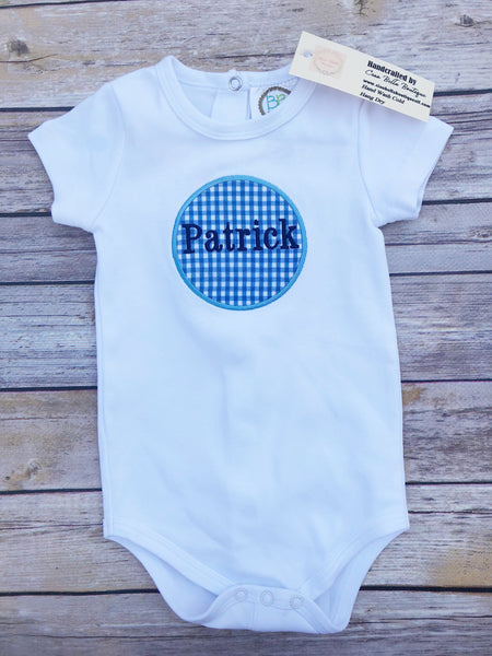 Blue Gingham Circle Framed Name Bodysuit - Ciao Bella Boutique