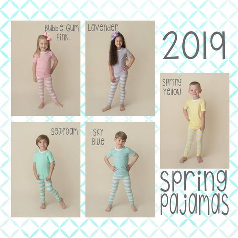 Spring Solid Stripe Pajamas - 5 Colors  ***Sizes 8-12*** - Ciao Bella Boutique