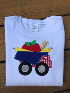 Truck with Apple, Ruler and Pencil Shirt - Ciao Bella Boutique