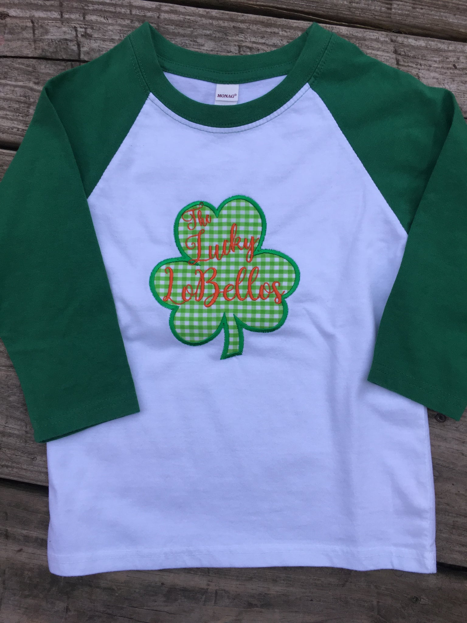 Gingham Shamrock Raglan Shirt - Ciao Bella Boutique