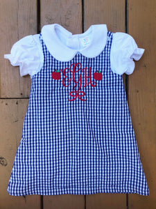 Monogram Apple Navy Gingham Dress - Ciao Bella Boutique