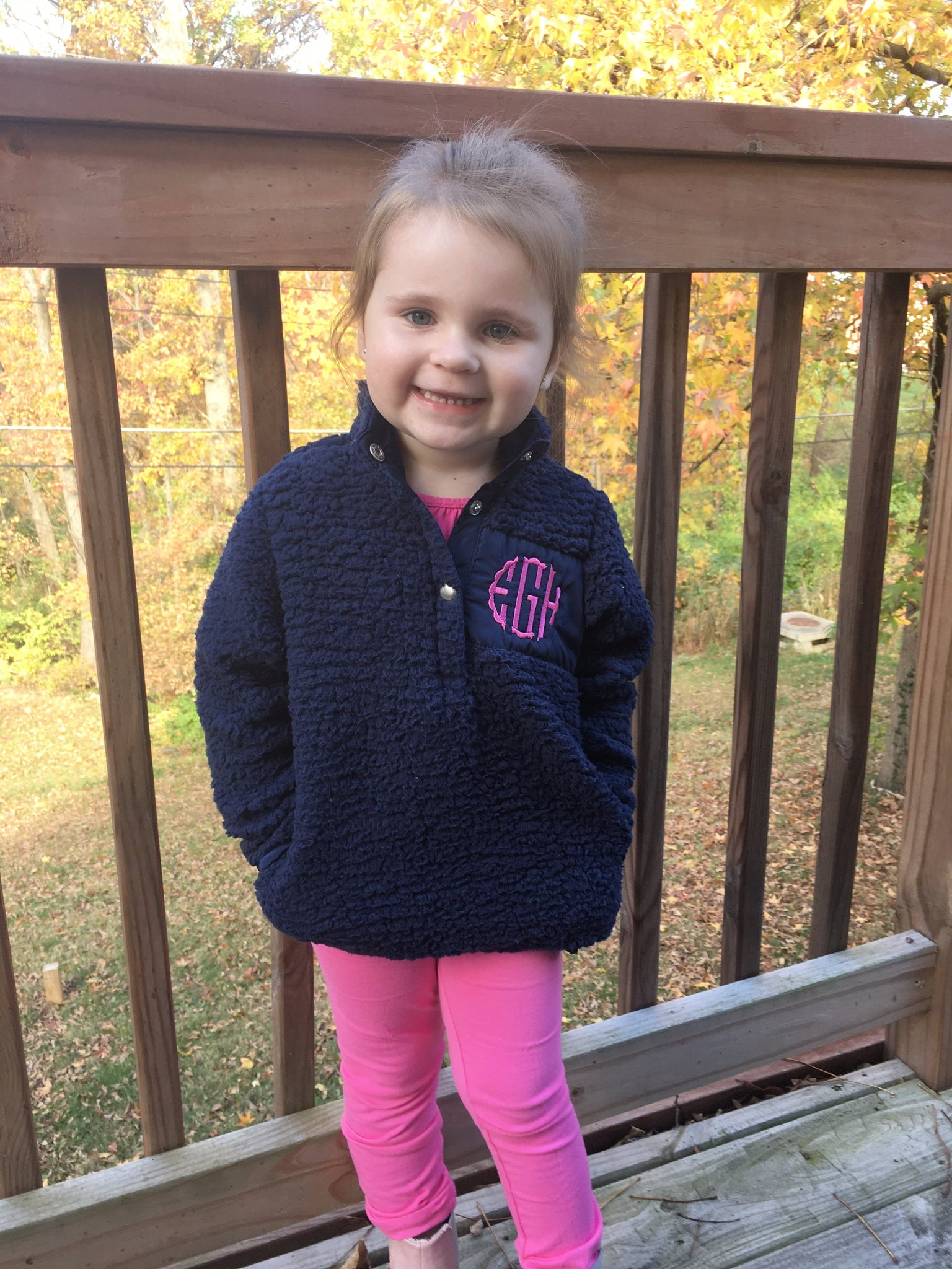 Child Sherpa Pullover - Navy - Ciao Bella Boutique