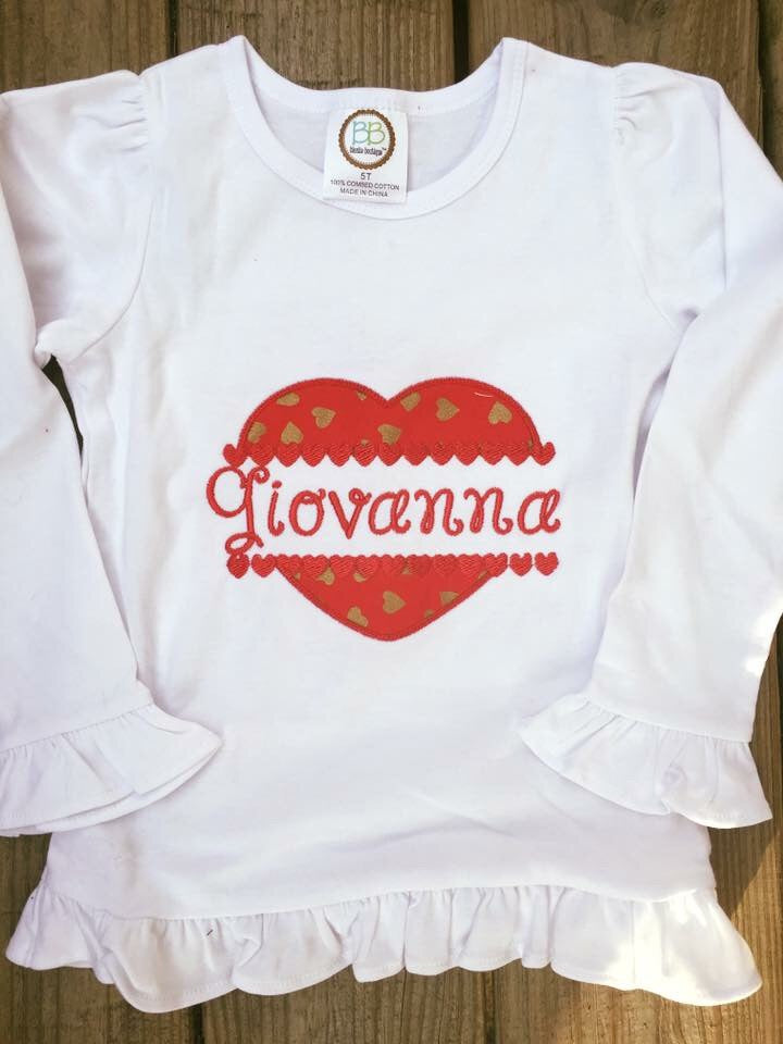 Split Heart with Name Shirt - Ciao Bella Boutique