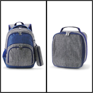 Comfort Backpacks with Pencil Case and Lunch Bag - Grey/Navy - Ciao Bella Boutique