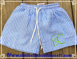 Gingham Swim Trunks - 3 Color Options: Blue, Orange or Aqua - Ciao Bella Boutique