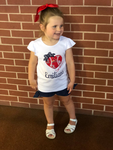 Heart Cardinals Shirt - Girls - Ciao Bella Boutique