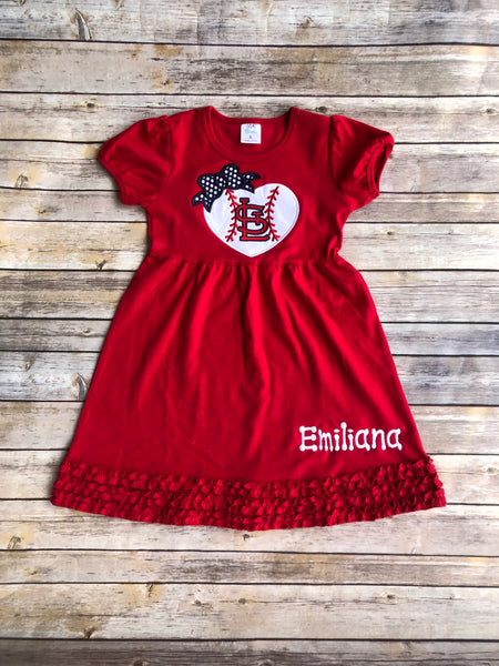 STL Baseball Heart Dress - Tank or Short Sleeve Dress - Ciao Bella Boutique