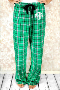 Kelly Green Plaid Flannel PJ Pants - Ciao Bella Boutique