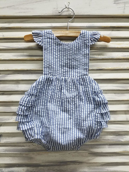 Girls Ruffle Sunsuit - Navy - Ciao Bella Boutique
