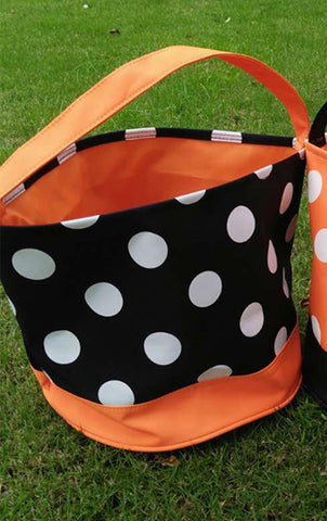 Black with White Dots Halloween Bucket - Ciao Bella Boutique