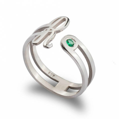 Birthstone Initial Ring - Sterling Silver - Ciao Bella Boutique