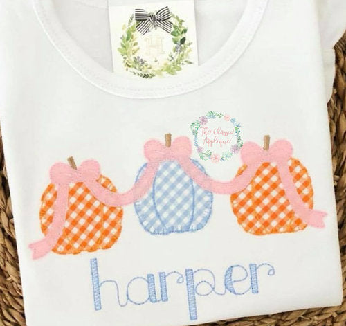3 Pumpkins with Bows Shirt - Different Color Shirt Options - Ciao Bella Boutique