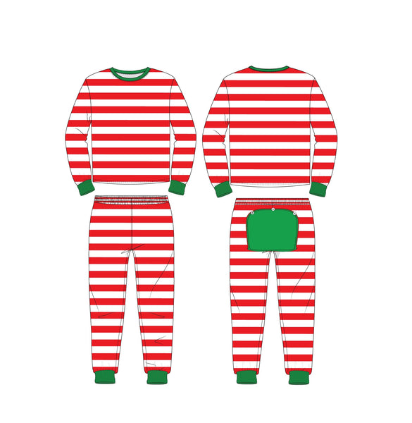 Holly Jolly Jammies Two Piece- Red Striped - Ciao Bella Boutique