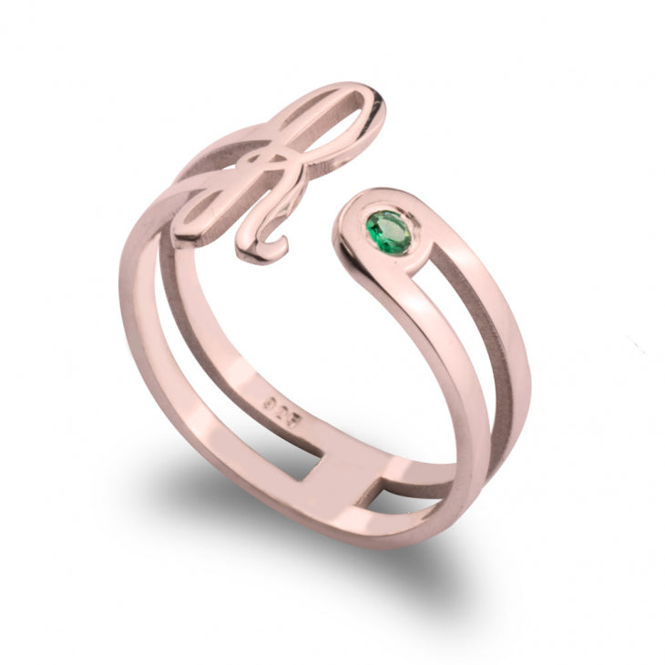 Birthstone Initial Ring - Rose Gold - Ciao Bella Boutique