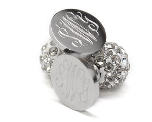 Crystal Ball Monogrammed Earrings - Ciao Bella Boutique