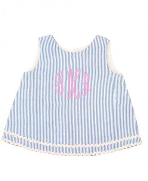 Seersucker Swing Top - Blue - Ciao Bella Boutique