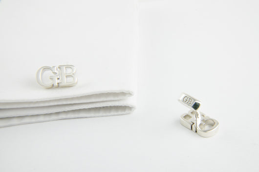 Custom Monogram Cufflinks - 14k White Gold