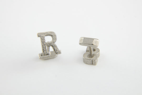 Custom Monogram Cufflinks - Stainless Steel - Nickel Finish