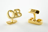 Custom Monogram Cufflinks - 18k Gold Plated