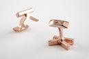 Custom Monogram Cufflinks - 18k Rose Gold Plated