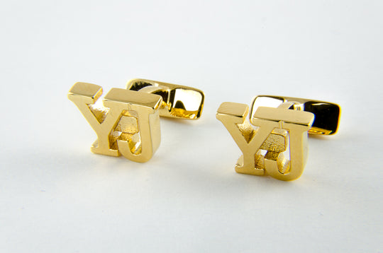 Custom Monogram Cufflinks - 14k Yellow Gold