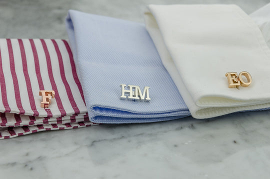 Custom Monogram Cufflinks & Tie Clip Set