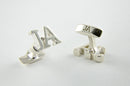 Custom Monogram Cufflinks - Rhodium Plated