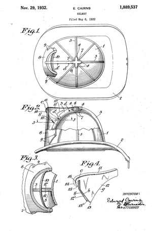 Original Patent Drawing: FIRE HELMET