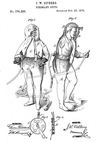 Original Patent Drawing: FIRE SUIT