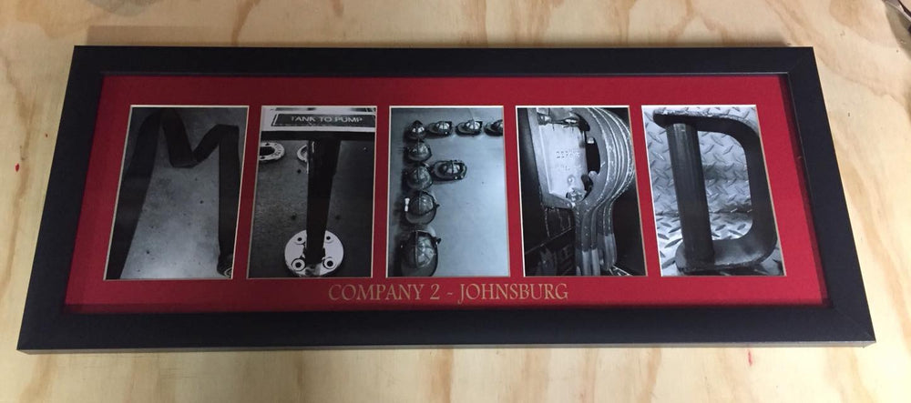 9 LETTER COLLAGE FRAME with LASER ENGRAVED MATTING