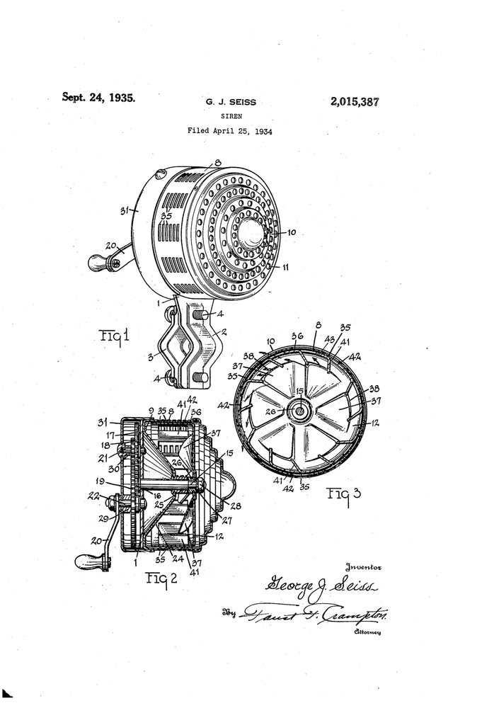 Original Patent Drawing: Q SIREN