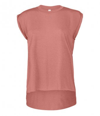 Bella Ladies Flowy Rolled Cuff Muscle T-Shirt