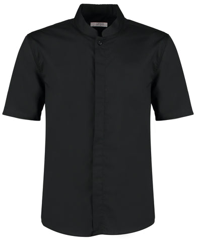 Bar shirt mandarin collar short sleeve