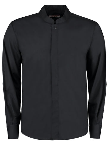 Bar shirt mandarin collar long sleeve