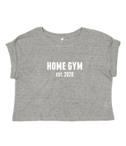 Ladies Cropped Roll Sleeve Home Gym Est. 2020 T-Shirt