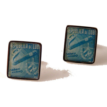 1948 PRE CASTRO CUBAN POSTAGE STAMP CUFFLINKS WITH CUBAN CREST New Orleans Cufflinks