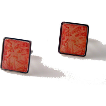1948 CUBAN POSTAGE STAMP CUFFLINK WITH WOMAN HOLDING BOX OF CIGARS New Orleans Cufflinks