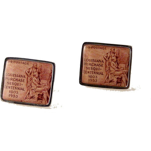 1953 LOUISIANA PURCHASE  POSTAGE STAMP CUFFLINKS New Orleans Cufflinks