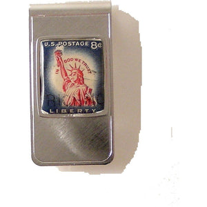 AUTHENTIC 1958 STATUE OF LIBERTY POSTAGE STAMP MONEY CLIP New Orleans Cufflinks