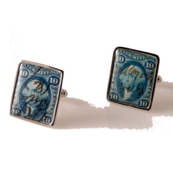 AUTHENTIC 1862 REVENUE POSTAGE  STAMP CUFFLINKS New Orleans Cufflinks