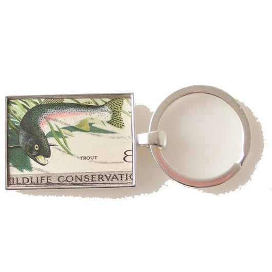 1971 TROUT POSTAGE STAMP KEY RING New Orlean Cufflinks