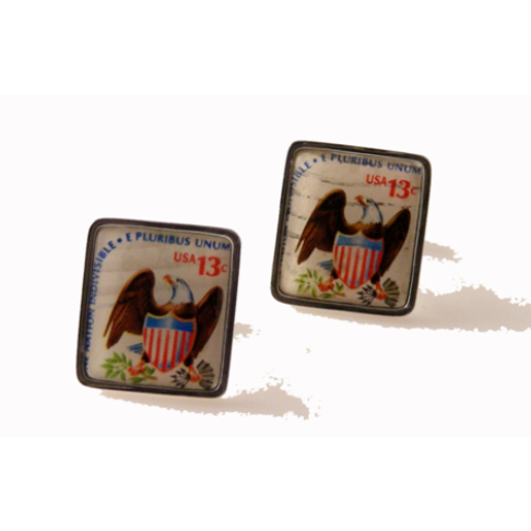 1975 EAGLE AND SHIELD POSTAGE STAMP CUFFLINKS New Orleans Cufflinks