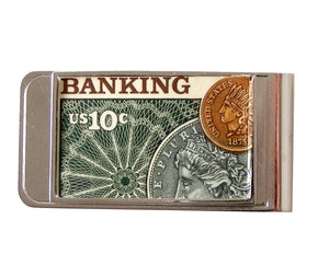 AUTHENTIC 1975 BANKING POSTAGE STAMP MONEY CLIP