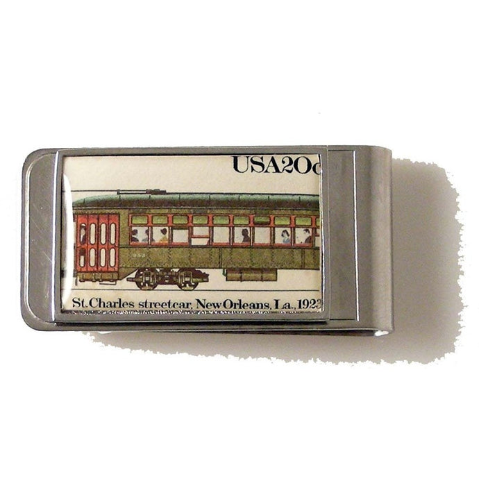 AUTHENTIC 1983 ST CHARLES STREETCAR POSTAGE  STAMP MONEY CLIP New Orleans Cufflinks
