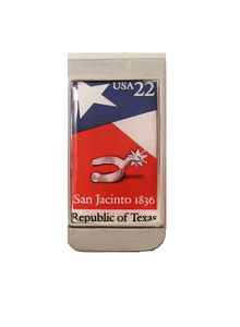 AUTHENTIC 1986 REPUBLIC OF TEXAS POSTAGE STAMP MONEY CLIP New Orleans Cufflinks