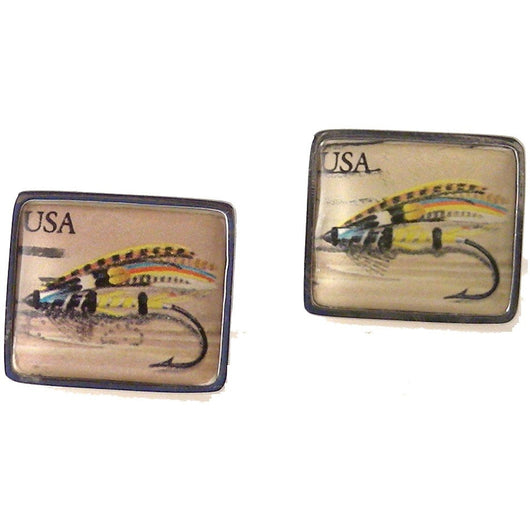 1991 JOCK SCOTT FISH FLY  POSTAGE STAMP CUFFLINKS New Orleans Cufflinks