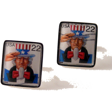 1998 UNCLE SAM POSTAGE STAMP CUFFLINKS New Orleans Cufflinks